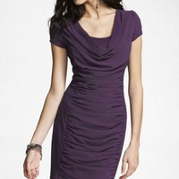 RUCHED KNIT SCOOP NECK DRESS at Express