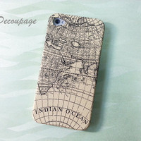 Vintage World Map  iPhone 4 Case  iPhone 4s Case  by AdaFashion