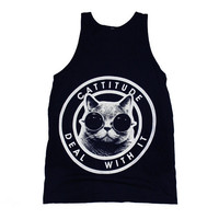 $24.00 Cattitude Tank Top Select Size by burgerandfriends on Etsy