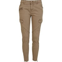 Beige skinny ankle grazer combat trousers