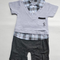 Boy Baby Formal Suit Romper Pants 0-18M One-piece Jumpsuit Clothes Free Shipping