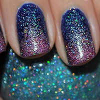 2 New HOLO BLUE &amp; PINK  KLEANCOLOR Nail Polishes~HOLOGRAPHIC Glitter Full Size