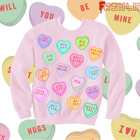 Anti-Valentine's Day Insult Heart Candy Kawaii Sweatshirt // fASHLIN
