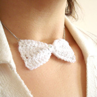 Sequin Bow Tie Necklace, Crochet Bow Necklace, White Bow Tie, Crochet Bow Tie, Statement Necklace, Gift for Her, Crochet Necklace