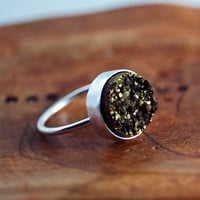 Gold Rush Ring Sterling Silver Gold colored Drusy Ring by MarKhed