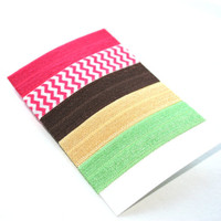 Chevron, Neon, Solid Hair Ties (5) - Emi Jay Like Elastic Yoga Hair Bands - Girls, Women's Soft Ponytails - Trendy Fashion Hair Accessories