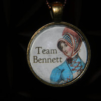 Jane Austen Team Bennett Necklace. Pride And Prejudice Necklace. 18 Inch Bronze Tone Chain.