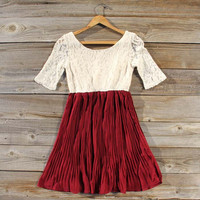 Lace & Pine Dress in Ruby, Sweet Women's Bohemian Clothing