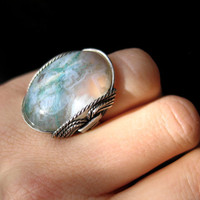 Green Moss Agate Ring Unique Rainforest Scene by HardCandyGems
