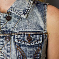Acid Wash Denim Vest - american threads