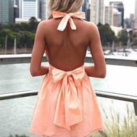 Light Orange Halter Dress with Open Back&amp;Tie Bow Detail
