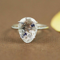 Silver White Quartz Sapphire &amp; White CZ Oval Ring by tooriginal
