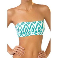 Amazon.com: Ondademar Maldives Bandeau Top in Aqua Ikat Print (S): Clothing