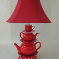 EcoVolveNow Teapot Lamp, Red Teapots Tea Cup and Saucer with Polka Dots