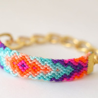 Chunky Chain Friendship Bracelet. Rainbow Sherbet.