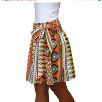 Valentine Sale Spring Fashion Skirt / Colorful Tribal Orange Mini Skirt with Sash Belt / Ready to Ship