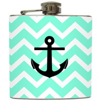 Liquid Courage Flasks: &quot;Drop Anchor&quot; - Anchor on Turquoise Chevron Flask