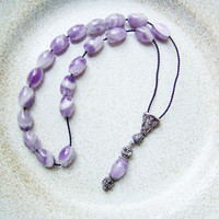 Amethyst silver worry beads set, black thread, oxidised traditonal silverwork, unique mala