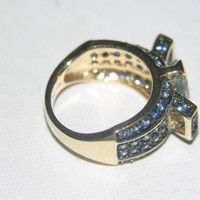 Have You Seen the Ring?: Aquamarine & Blue Sapphire 14K Gold Ring