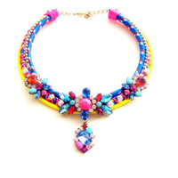 Statement necklace - neon statement necklace, painted rhinestone necklace, bib necklace