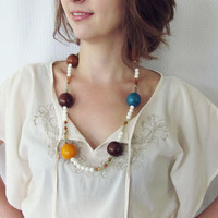Beaded necklace - Long, handmade necklace, Tagua nut necklace, white sea fossil and crackled teal agate