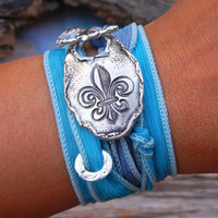 Rustic Jewelry Gift, STERLING Silver Bracelet, Fleur de Lis Art, Silk Ribbon Adjustable Wrap Bracelet, Hand Stamped Sterling Silver Toggle