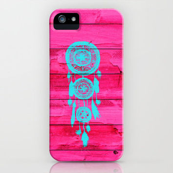 Hipster Teal Dreamcatcher Girly Pink Fuchsia Wood  iPhone Case by Girly Trend | Society6