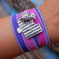 Memorial Jewelry, HOPE Silk Wrap Bracelet, Inspirational Quote Silver Wrap Bracelet, In Memory Of Inspirational Gift