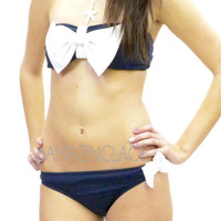 Pretty Navy White Bow Sailor Bikini