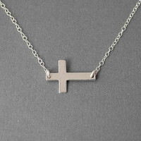 Taylor Sideways Horizontal Cross Sterling Silver by jennijewel
