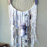 Custom Order Huge 19 inch WHITE DREAMCATCHER doily or woven your choice, multiple sizes available
