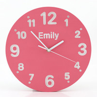 Wall clock for kid's room with your choice of words on it Pink color  birch wood  hand painted