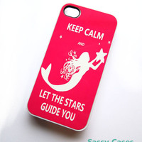 Plastic Case iPhone 4 4S Mermaid iPhone Case Hot Pink Keep Calm Ships from USA