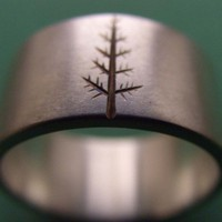 Wedding Band Oregon Pine in Titanium reserved for Aimee