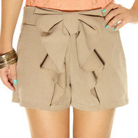 FREE SHIPPING Big Bow Shorts Nude Brown S