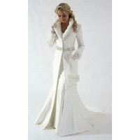 White Long Sleeves Winter Satin Wedding Dress - Star Bridal Apparel