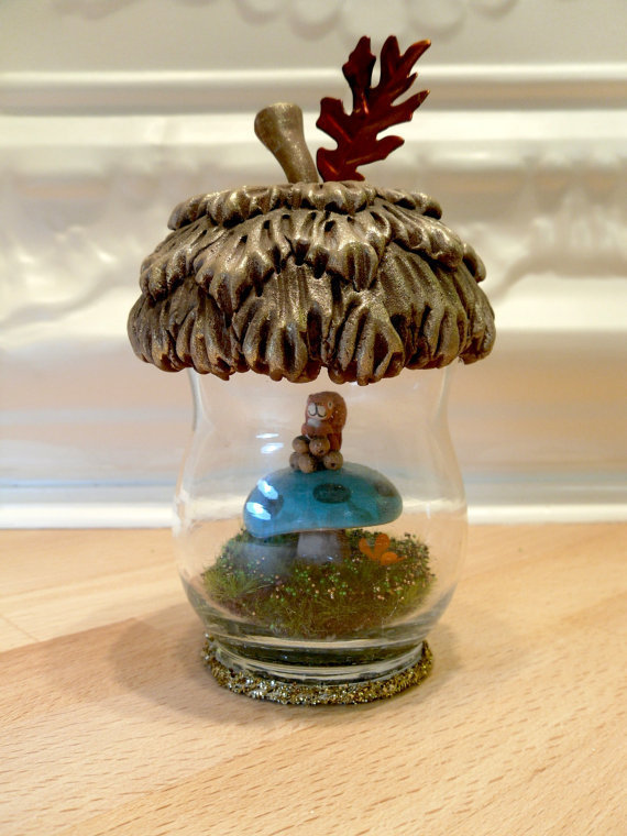 Acorn Terrarium  mushroom with cute squirrel on it by workofwhimsy