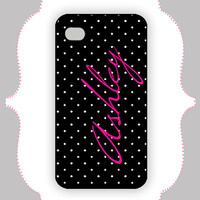 iPhone Case- Pink/Black Polka Dot Monogram-iPhone 4 Case, iPhone 4s Case, iPhone 5 Case, Monogram Case, Personalized iPhone Case