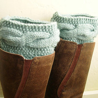 Handknit Mint cuffs - Mint Leg Warmers - Cable knit boot toppers - Winter Fashion 2013 - WINTER SALE - pastel mint green