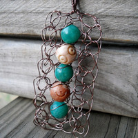Pendant Copper Wire Crochet Aqua Gemstones by MegsCrochetJewels
