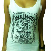 Jack Daniel&#x27;s Whiskey White T-shirt Very Thin Cotton Tank Women&#x27;s Tops Vest S M