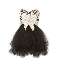 Forever Unique Monochrome Strapless Bow Short Prom Dress