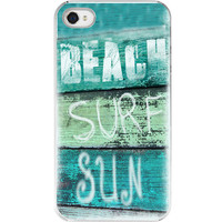 Iphone Case - Beach Surf Sun Quote Aqua Green Surfer Iphone 4 4s Cover Beachy Retro