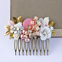 Pink Wedding Hair Comb  Bridal Hair Comb Bridesmaid by lonkoosh