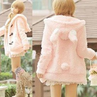 L365 Women&#x27;s Girls Lolita Cute Bunny Ears Sherpa Hoodie Jacket Coat Outerwear S