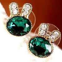 ee12 Korea Fashion Women Girl Cystal Lolita Nana Rabbit Stud Earrings