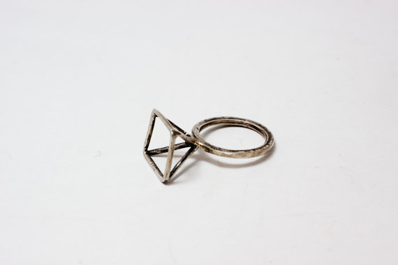 Sterling Silver Pyramid Ring Geometric Modern by CSfootprints