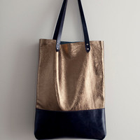 Brass Metallic with Navy Blue Leather Tote bag No. TL- 3001