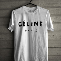 Celine Paris Logo Hot Costum Made white t-shirt