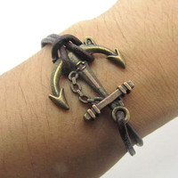 Anchor brown bracelet made of leather cord and copper ornaments   Fashion Bracelet  LL151